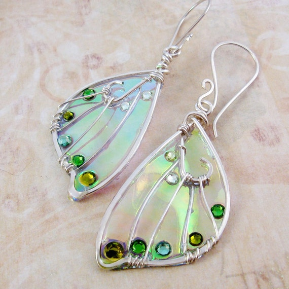Sidhe Wings Earrings - Banshee - Iridescent Fairy Wing Faery Wing Jewelry