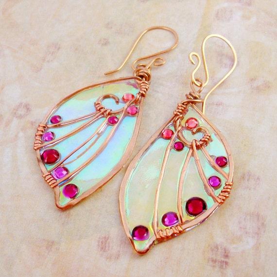 Sidhe Wings Earrings - Tylwyth Teg  in Copper - Iridescent Faery Wing Earrings - Fairy Wings - Fairie Wings
