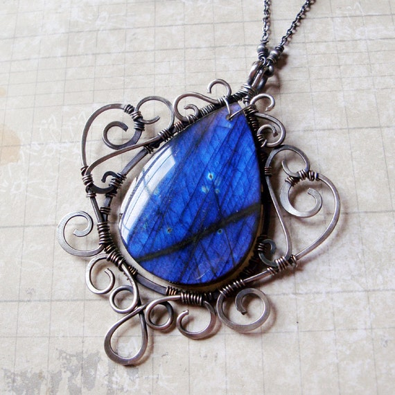 Ratri - Ornate Cobalt Blue Labradorite Necklace in Sterling Silver