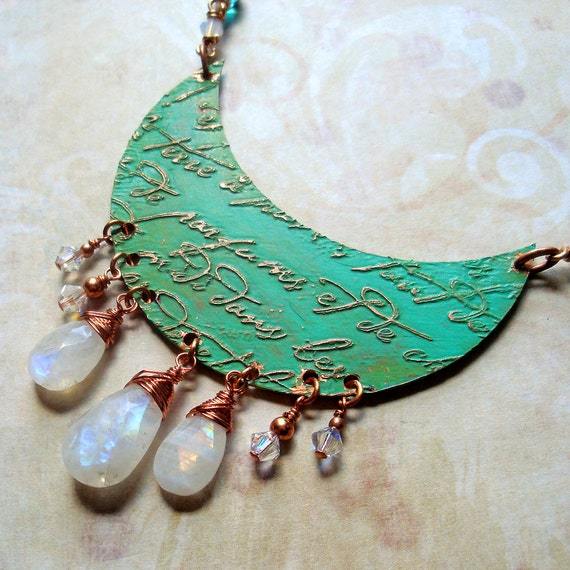 La Lune - French Script in Verdigris - An Etched Copper Moon and Moonstone Necklace