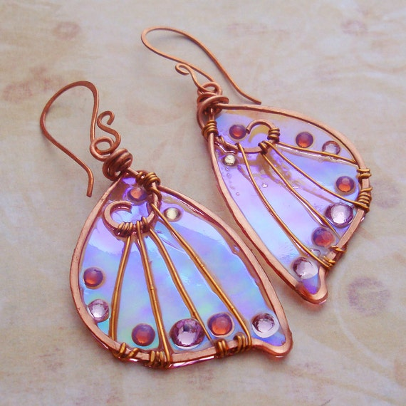 Sidhe Wings Earrings - Leanan Sidhe - Iridescent Fairy Wing Faery Wing Jewelry