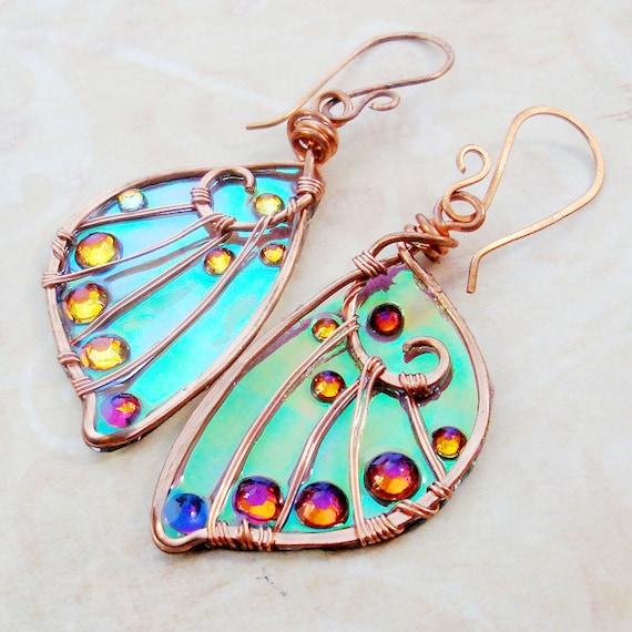 Sidhe Wings Earrings -The Elf-Queen in Copper - Fairy Wings - Faery Wings - Faerie Wings