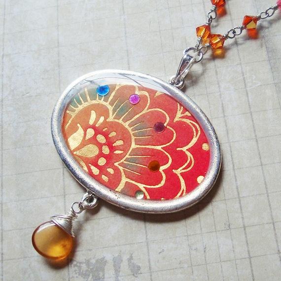 Bollywood Bling Resin Pendant - Adorned with Hessonite Garnet