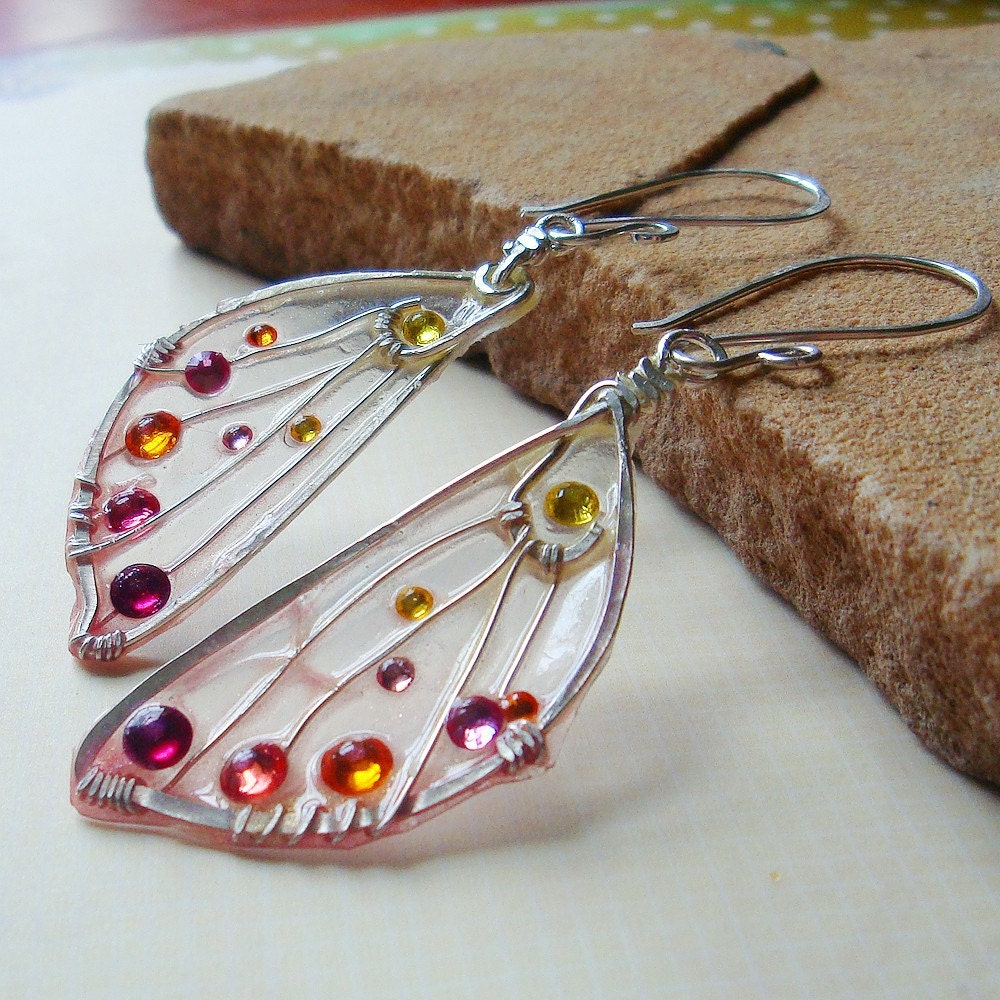 Resin Faux Crystal Wire Wrapped Pendant Necklace Diy: Pressed Faerie Wing Earrings Sunrise Fae