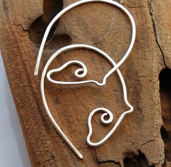 Silver Horse Earrings, Baby Grazing Horse Earrings