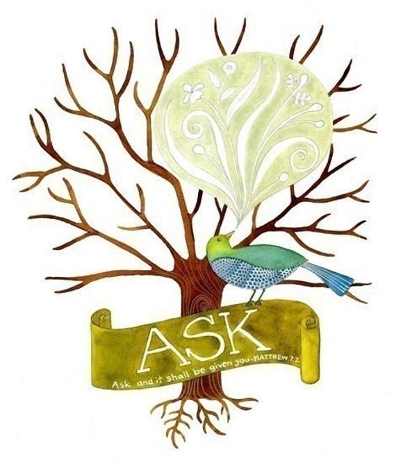 Ask Believe Receive Print set
