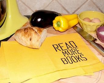 Read More Books Mustard Yellow Linen Tea Towel