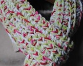 RESERVED Strawberry Pink and Apple Green Long Scarf