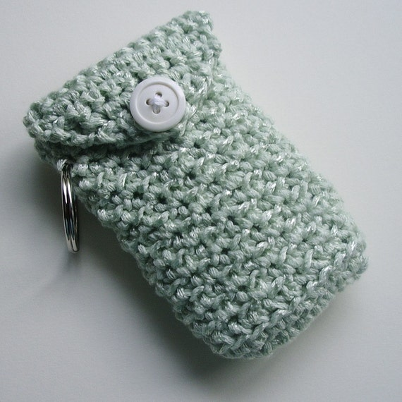 Crocheted Moo Card Cozy -- Light Green