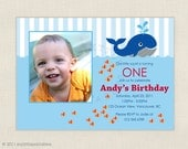 Little Blue Whale Party - Photo Birthday Invitation, Baby Shower or Birth Announcement - Printable Personalized Digital Photo Card