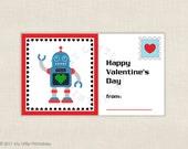 Robot Valentine -  printable Valentines -DIY Instant download file