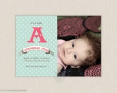 Polka Dots Printable Baby Announcement or Birthday Invitation - Photo You-Print Digital Announcement