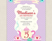 Tea Party with Alice Birthday Invitation - Printable Birthday party invite
