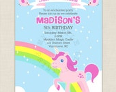 Pink Unicorn Birthday Party Invitations - DIY Printable invite