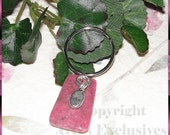 GGs Faceted RHODONITE Gemstone KEY CHAIN Love CHARM
