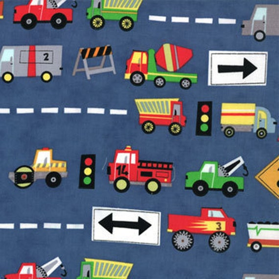 Free shipping - Ten little things fabric - trucks navy