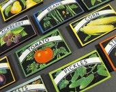 Wood Canning Labels - Vintage Fruits and Vegetables
