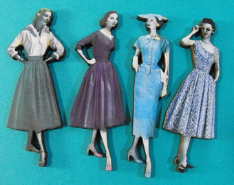 1950s Fashion Models Wood Cuts