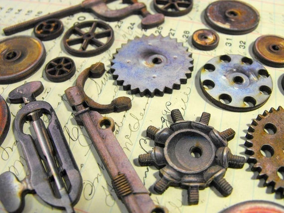 Antique Wheels And Gears : Vintage gears and wheels pulleys finger by