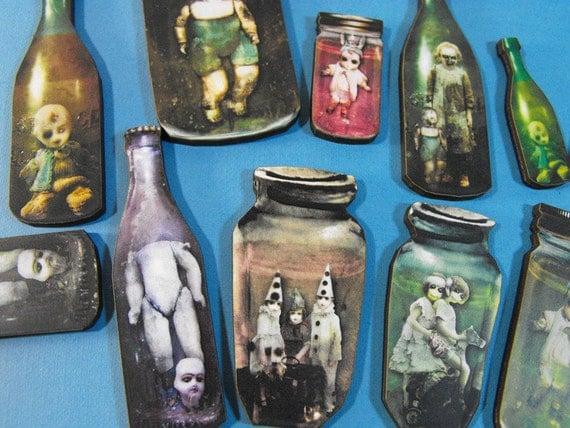 Zombie Children in Jars Wood Cuts