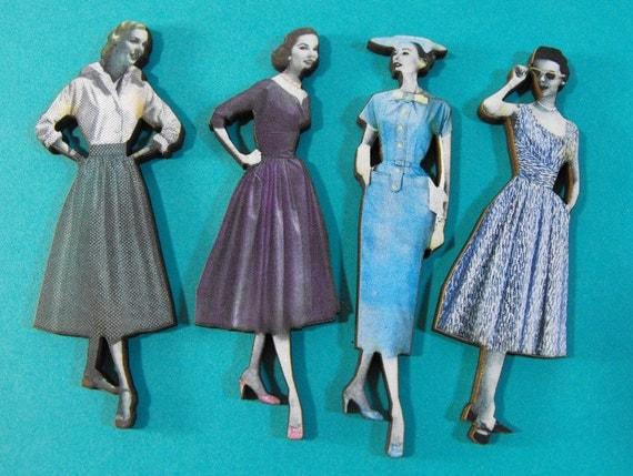 1950s Fashion Models Wood Cuts