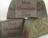 Mint Chocolate Soap with cocoa butter and olive oil (Fair trade, Organic, Vegan) new recipe with no Palm Oil Mmmm... 66\/70g