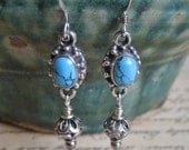 Ornate turquoise and bali sterling bead dangle earrings Southwest style