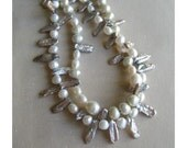ELECTRA  White and grey Keishi freshwater pearl double strand necklace.