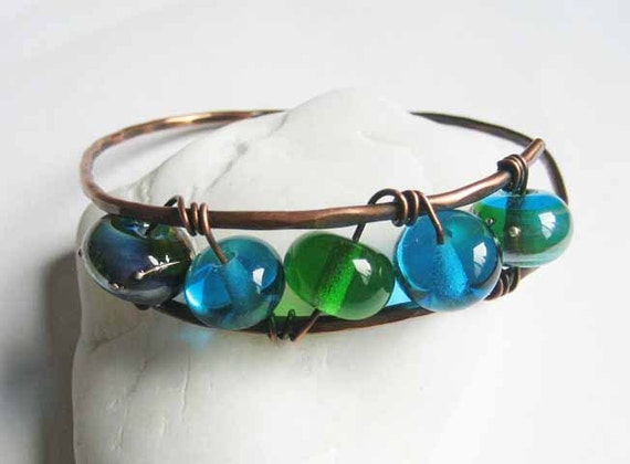 Copper bangle, handforged antiqued copper bangle with green and aqua lampwork beads