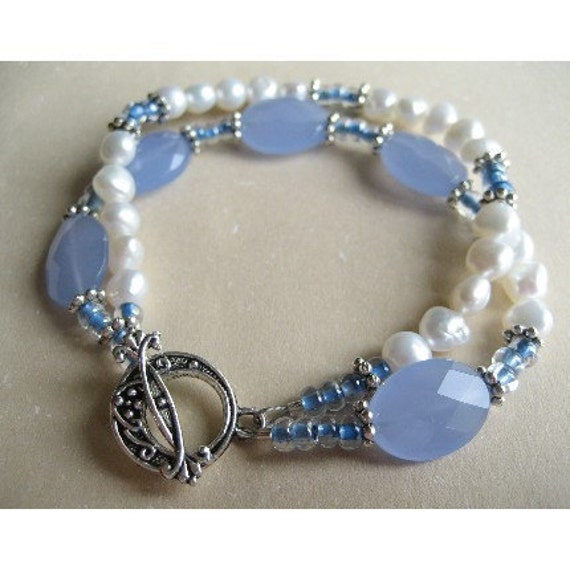 FRESHWATER PEARL and blue Czech glass double strand bracelet Colgan SRA