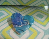 Bright blue hummingbird 2 inch polymer pin