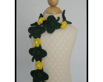 Crochet Scarf Pattern, St. Patricks, Shamrock