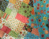 PDF Quilt Pattern.....Easy and Quick...two sizes, Flowers in the Garden