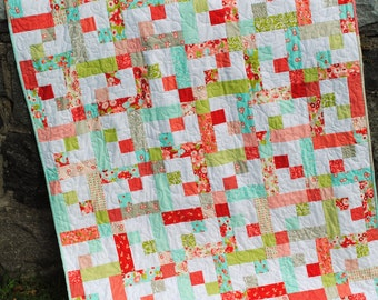 PDF Quilt Pattern.... Baby or Twin Quilt size, Quick and Easy, Layer Cake, Jelly Roll or Fat Quarters, Stepping Star