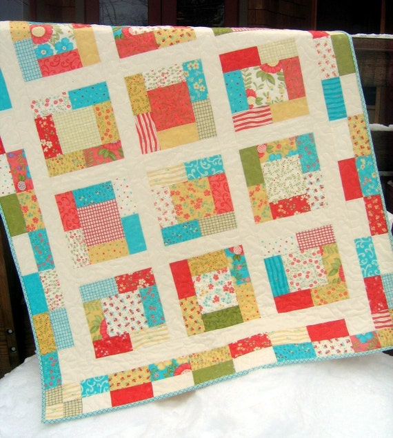 A Sunday Charmer Lap or Baby Quilt Pattern....Quick and Easy Charm Squares or Fat Quarters