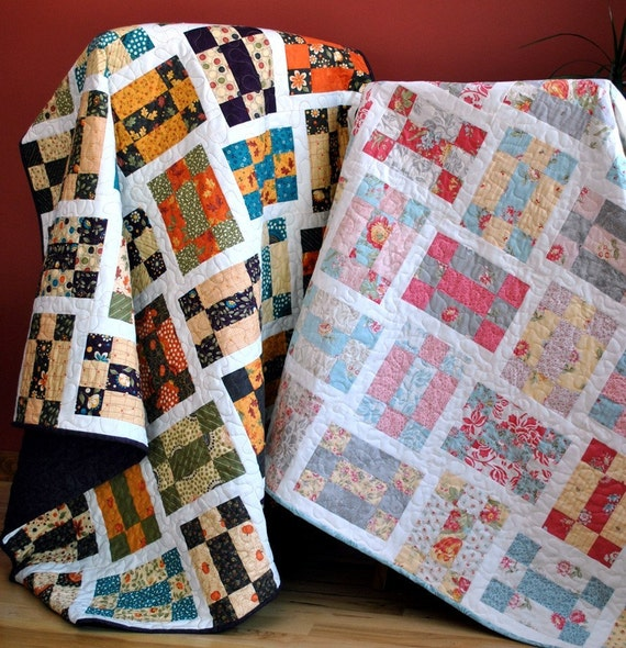 Tumbling Nine Patch QUILT PATTERN three sizes baby to twin