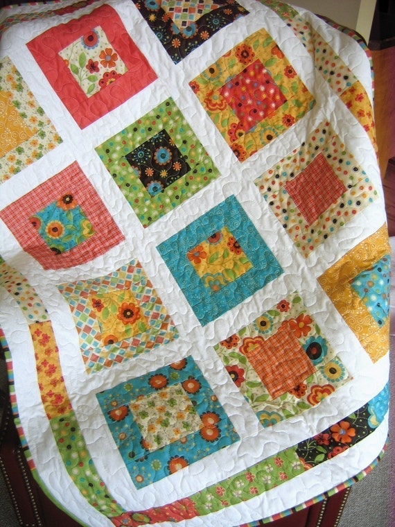 PDF Quilt Pattern, Lap or Baby size....Quick and Easy, Layer Cake ... : easy quilt patterns using fat quarters - Adamdwight.com