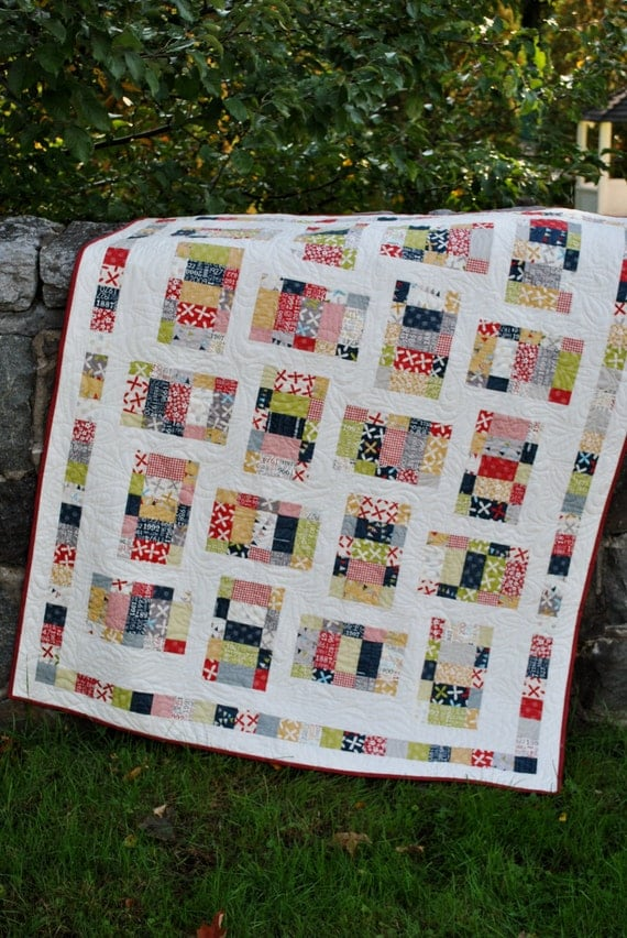 PDF quilt PATTERN baby quilt and lap quilt sizes.... Uses Layer Cake, Jelly Roll or Fat Quarters ...Picnic in the Park