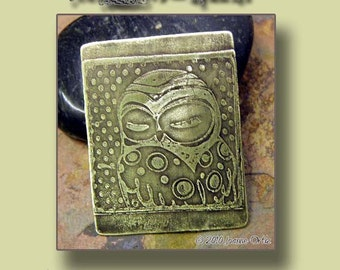 New - Handmade etched Owl 2 Charm, PurpleLily Designs