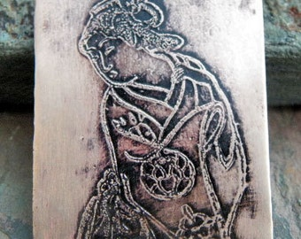 New - Handmade etched Copper Geisha 3 Charm, PurpleLily Designs