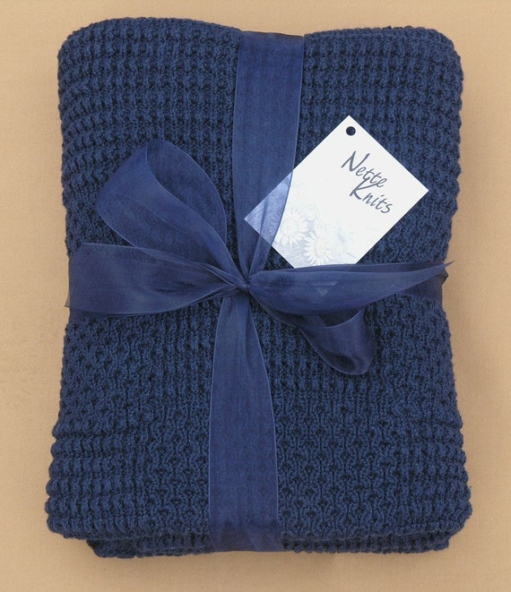 Handmade Knitted Navy Blue Cotton Baby Blanket Afghan