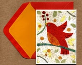Kate Endle Collage Bird note card set
