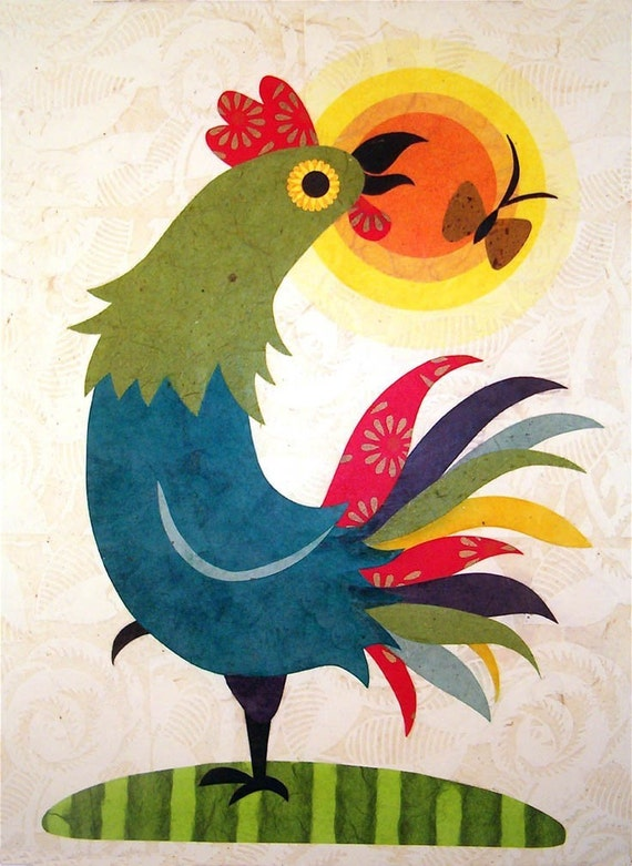 Happy Day Rooster-print