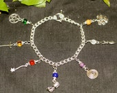 Wiccan Magical Tools Charm Bracelet - With Athame, Wand, Chalice, Pentagram, Spiral, Greeman, Goddess, Witchcraft, Pagan