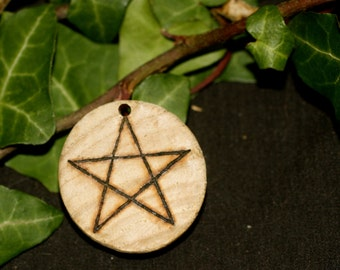 Reclaimed Hickory Pentagram Pendant, with cord - Antique wood - Pagan, Wiccan, Witchcraft, Pentacle