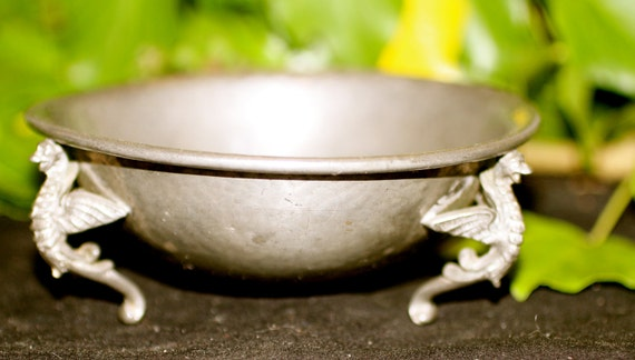 Vintage Pewter Dragon Offering Dish
