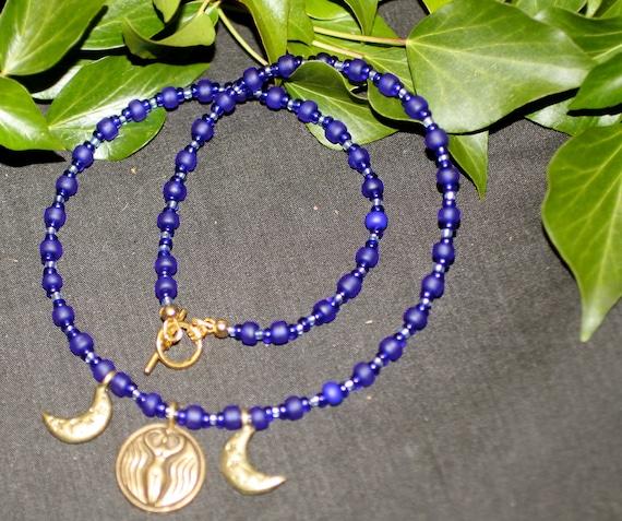 Nile River Goddess Blue Necklace