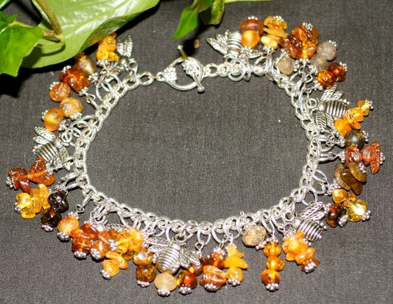 Amber Honey Bee Charm Bracelet