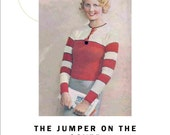 1933 Vintage Knitting Pattern  Jumper on the Cover Red Stripes  PDF Download