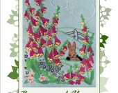 1950s Vintage Embroidery Design Bunny and Flowers Transfer Vintage Pattern PDF Email E116